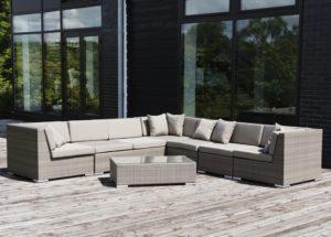 Искусственный ротанг мебель Belluno lounge - угловой диван модульного типа и журнальный стол!