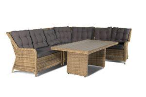 Искусственный ротанг мебель Bergamo -обеденная группа с угловым диваном.