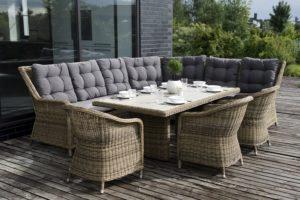 Искусственный ротанг мебель Bergamo Dinner Set - комплект стол с диваном и креслами!