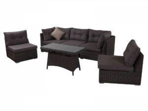 Плетеная мебель Leon brown - лаунж мебель с 3-х местным диваном, столиком и 2-мя креслами