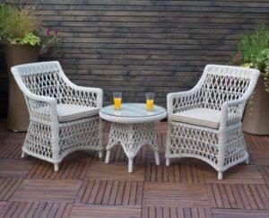 """Искусственный ротанг мебель """"Beatrice white"""" cafe set"""