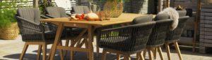 Обеденная группа садовая Kenton & Chios - массив тика и искусственный ротанг! Премиальный сегмент Brafab Швеция.