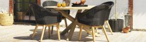 Плетеная мебель Beverly -  обеденная группа из искусственного ротанга в сочетание со столом из тика Eios!