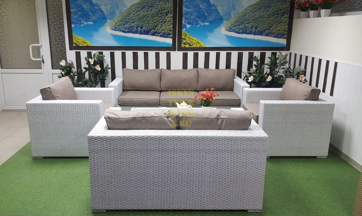 Фото-Плетеная мебель Louisiana patio set white&beige