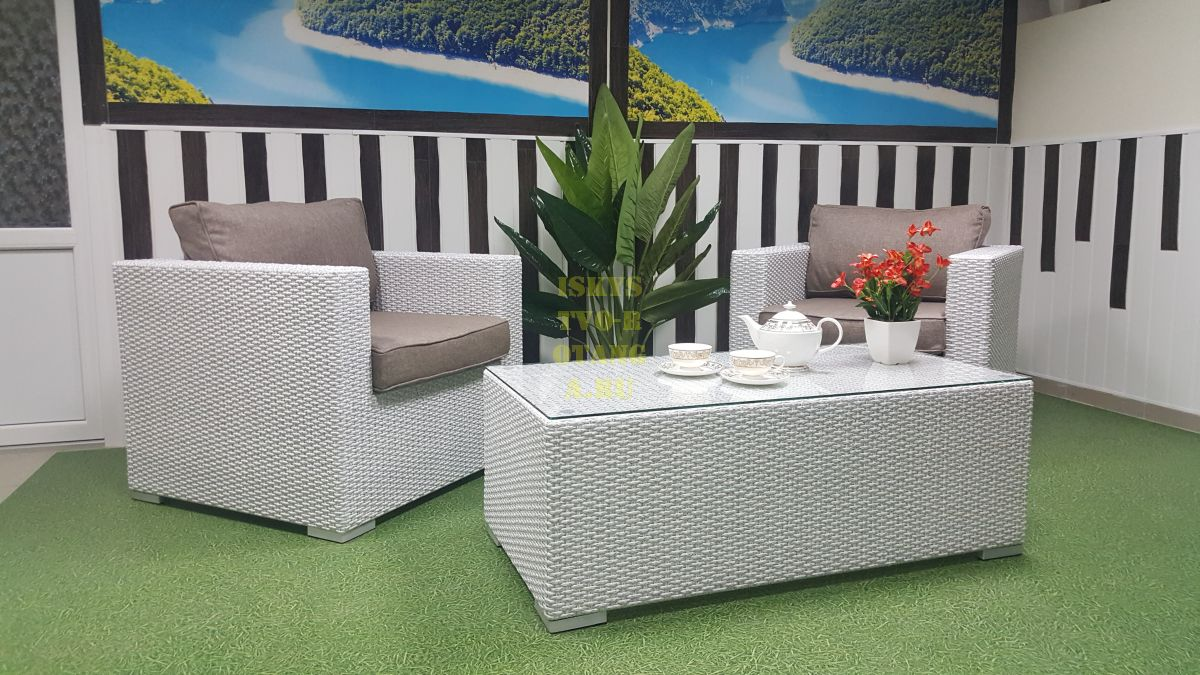Фото-Плетеная мебель cafe set Louisiana white&beige