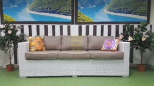 Фото-Плетеный диван Louisiana white&beige 3-х местный