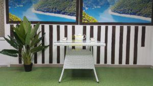 Фото-Samurai white стол из ротанга 90х90х75