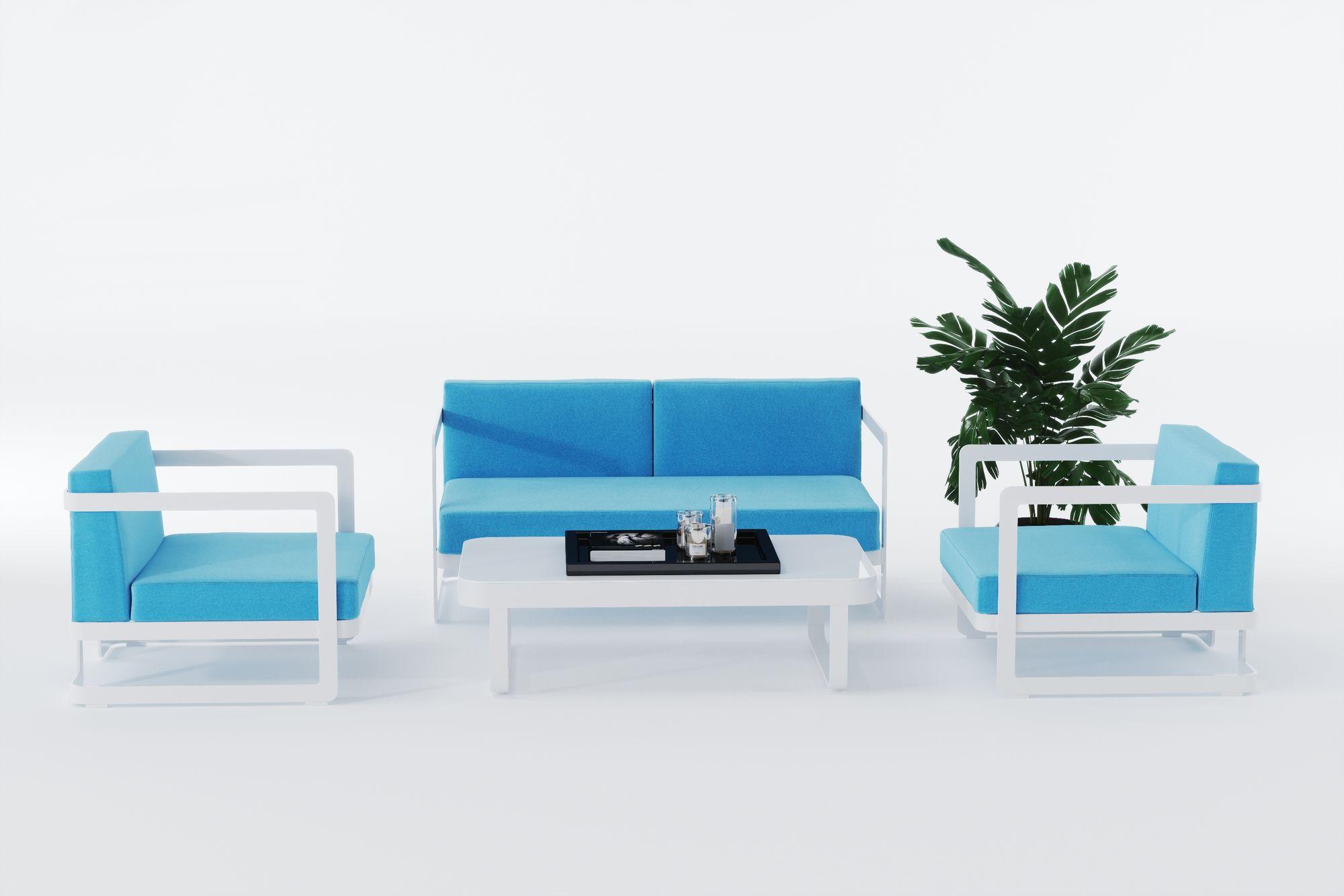 """Фото-Садовая мебель из алюминия """"VILLINO"""" white & blue"""
