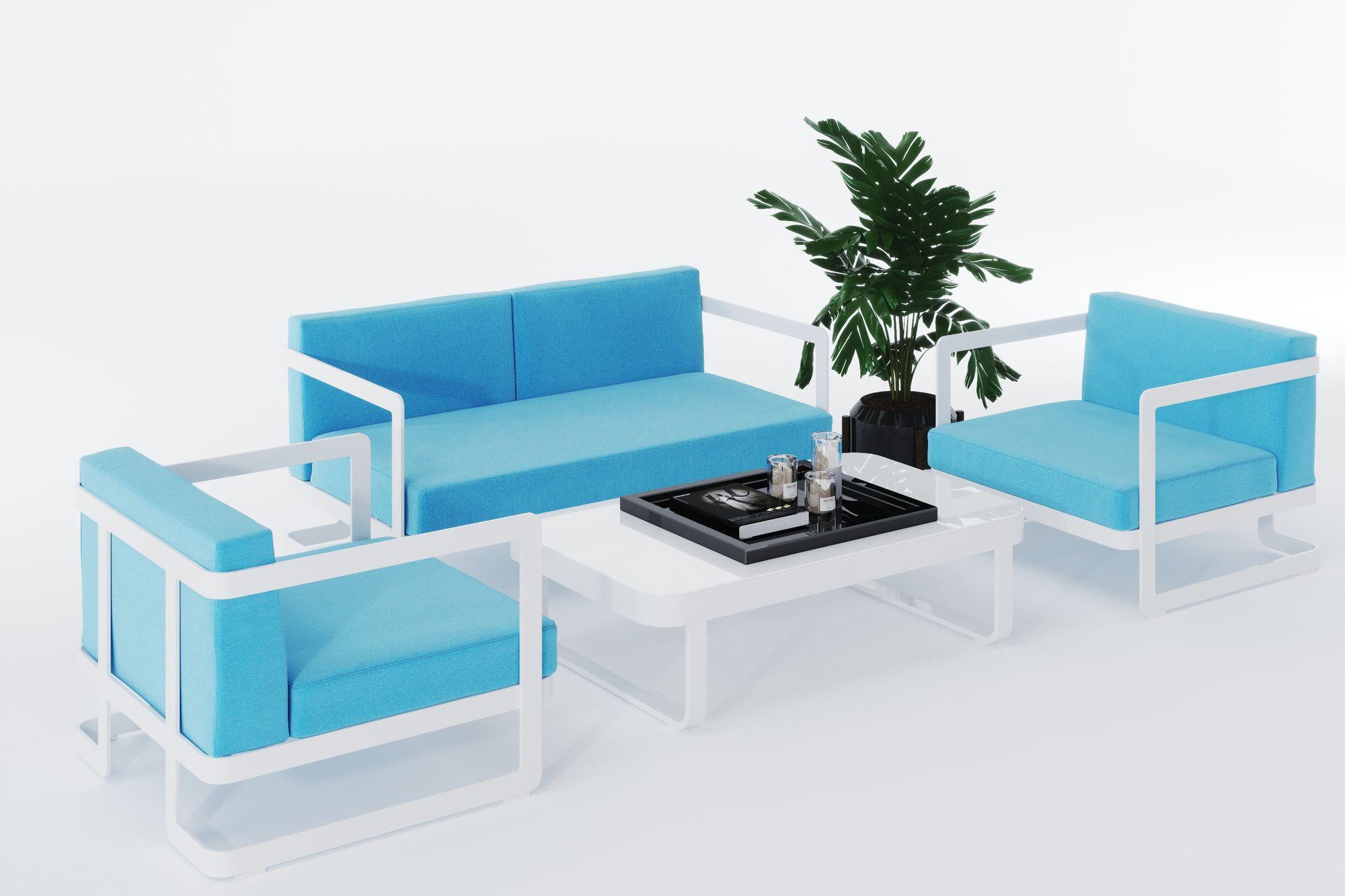 """Фото - Садовая мебель из алюминия """"VILLINO"""" white & blue"""