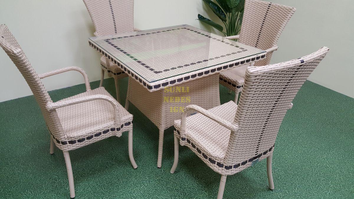 "Плетеная мебель ""Aura"" beige 4 + 90"