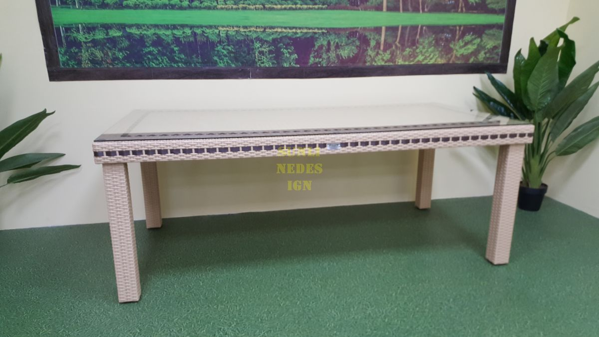 """Стол из искусственного ротанга """"Aurora"""" beige 160"""