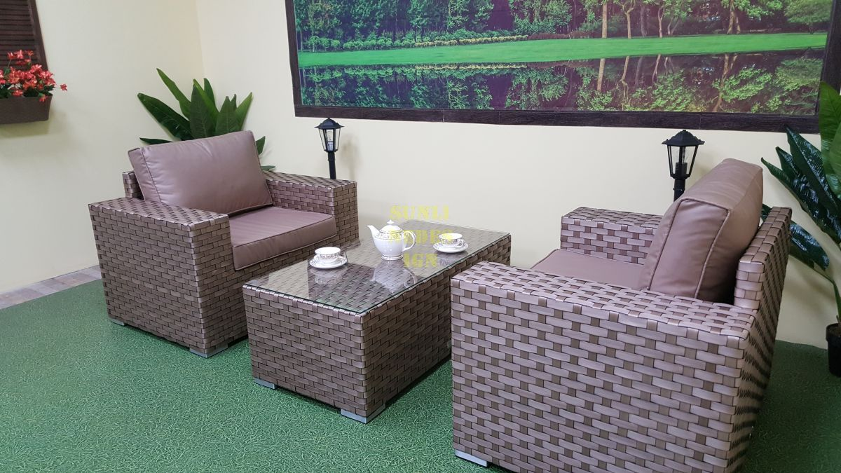 """Плетеная мебель """"Cinzano"""" beige cafe set"""