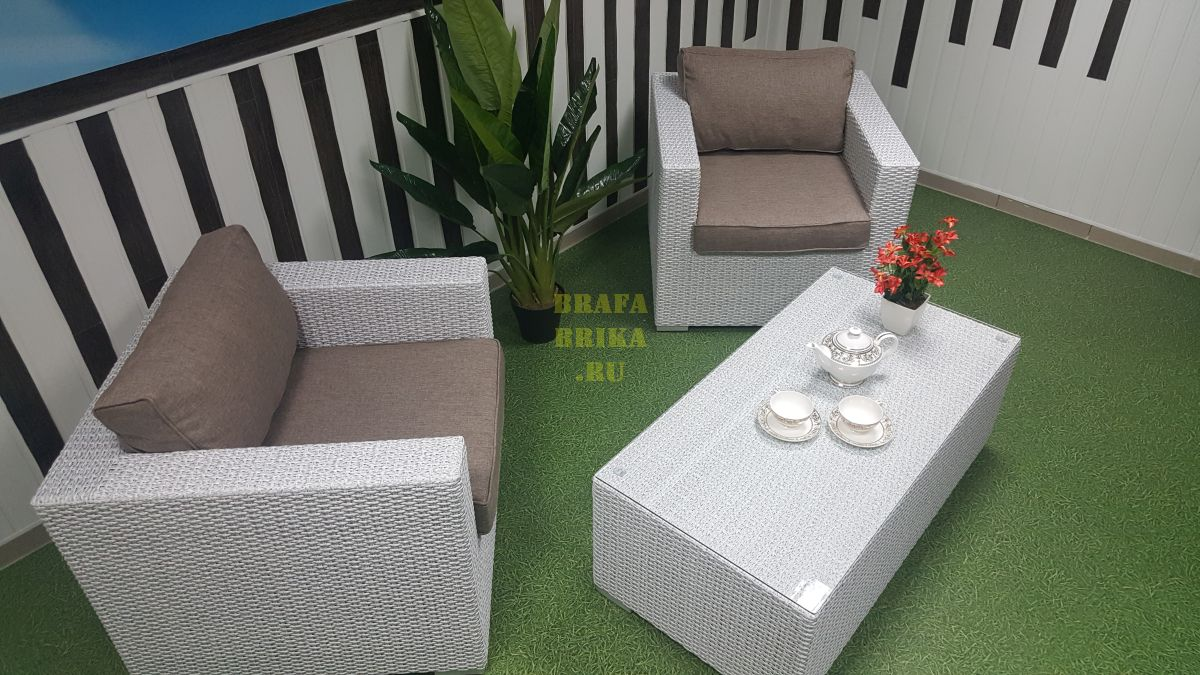 "Плетеная мебель ""Louisiana"" cafe set white&beige"