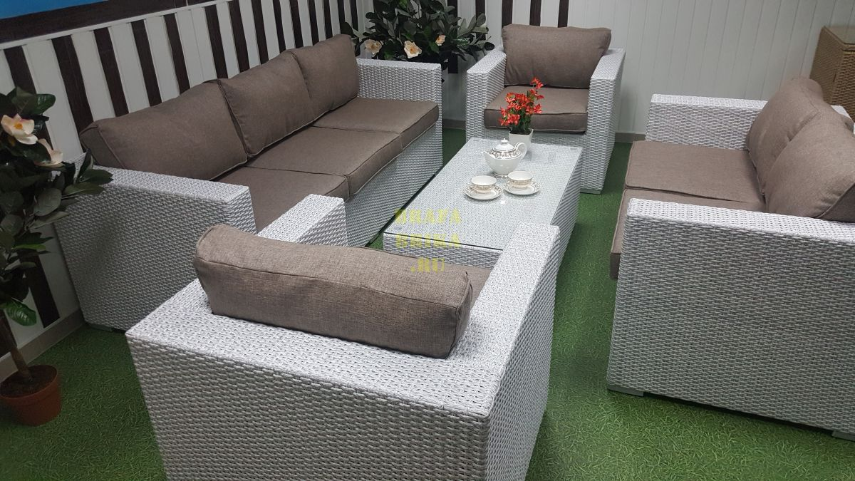 "Плетеная мебель ""Louisiana"" patio set white&beige"