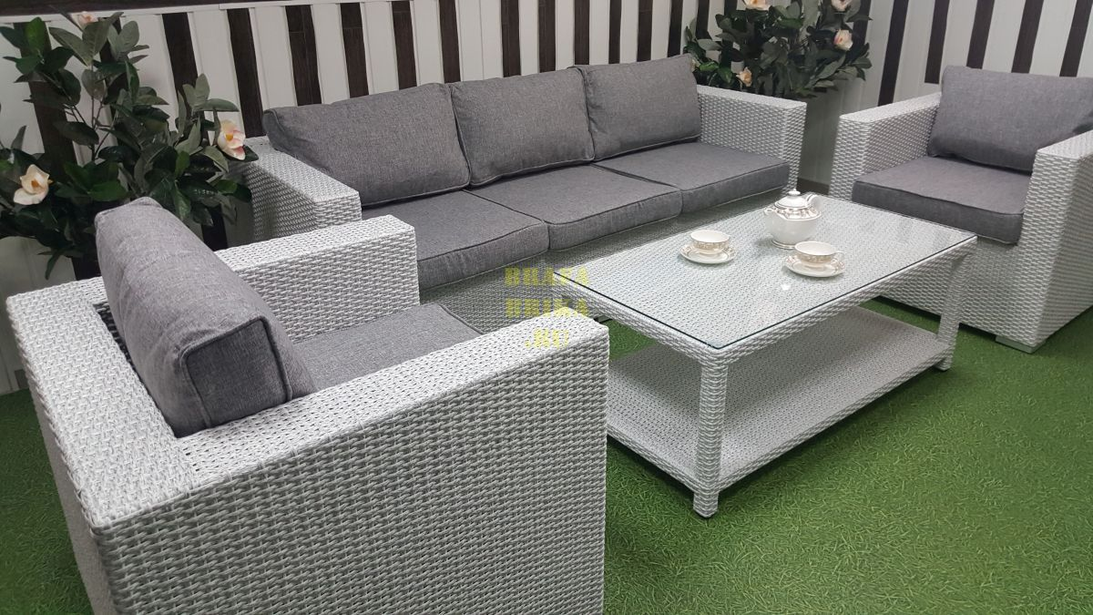 "Плетеная мебель ""Louisiana"" white & grey"