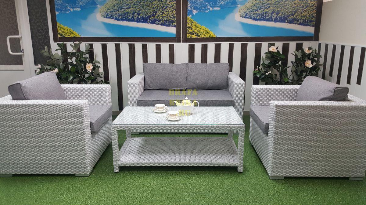 "Плетеная мебель ""Louisiana"" lounge white & grey"