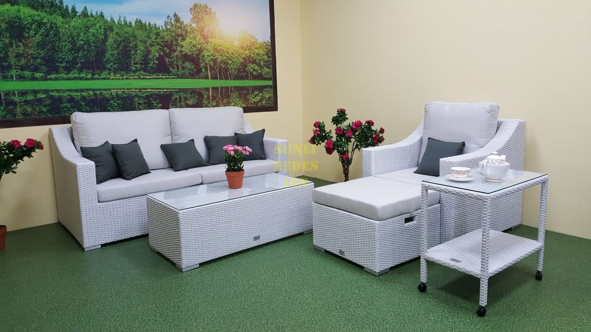 "Плетеная мебель ""Pegas"" white lounge set"