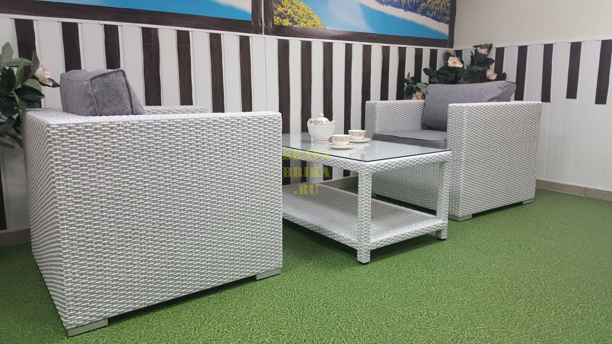 "Плетеная мебель ""Louisiana"" cafe set white & grey"