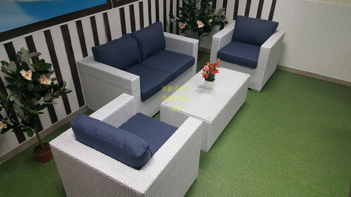 "Плетеная мебель ""Louisiana"" lounge white&blue"