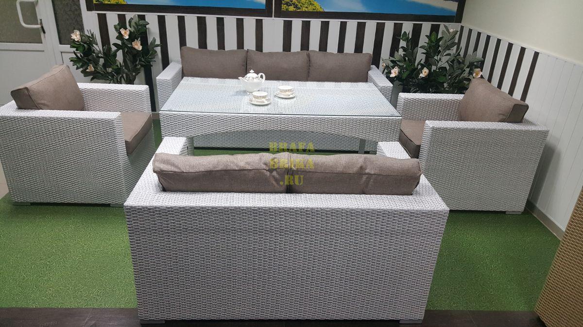 "Плетеная мебель ""Louisiana"" dining white&beige"